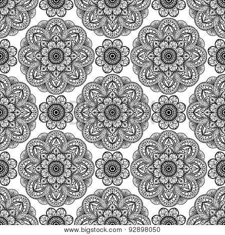 Seamless, Floral Pattern Of Mandalas.