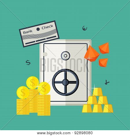 Vector illustration of the safe with jewels, gold bars, securities, money.