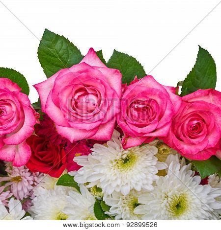 roses and chrysanthemus on white background