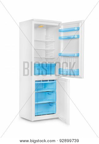 Open Refrigerator Isolated On White Baground