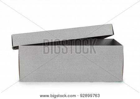 Open Gray Shoe Box Isolated On White Background