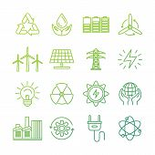 picture of nature conservation  - Vector ecology signs and icons in trendy mono line style  - JPG