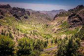 pic of volcanic  - Winding road through the stunning mountain and volcanic landscape of Gran Canaria - JPG