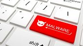 picture of malware  - A Red malware button on white a keyboard - JPG