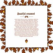 picture of acorn  - Template greeting card with frame of autumn oak leaves and acorns - JPG