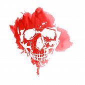 foto of voodoo  - Print of a human skull on a red spot watercolor - JPG