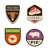 stock photo of meat icon  - Fresh Meat butchery Vintage Labels vector icon design collection - JPG