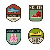 picture of thong  - Shoes Vintage Labels vector icon design collection - JPG