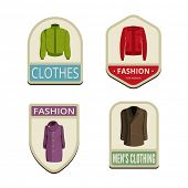 stock photo of outerwear  - Clothes Vintage Labels vector icon design collection - JPG