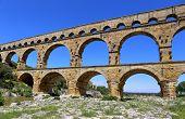 picture of aqueduct  - Southern France Roman aqueduct Pont du Gard - JPG