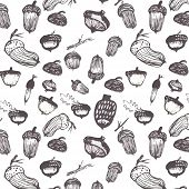 picture of acorn  - Vector seamless pattern in a watercolor style - JPG