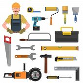 foto of hammer drill  - Tools flat icons set with toolbox hammer drill isolated vector illustration - JPG
