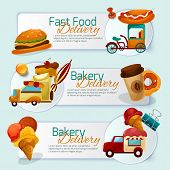 picture of ice-cream truck  - Food delivery horizontal banner set with cartoon trucks isolated vector illustration - JPG