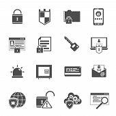stock photo of antivirus  - Computer security antivirus shield software black icons set with lock and key symbols abstract isolated vector illustration - JPG