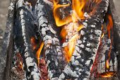 pic of brazier  - bright flame burning wood in a brazier - JPG