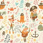 pic of crab  - Lovely pirates in cartoon seamless pattern - JPG