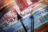 stock photo of barometer  - Euro banknotes overlaid with a Barometer dial - JPG