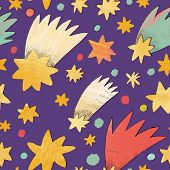picture of comet  - Awesome cosmic seamless pattern made of stars and comets in bright colors - JPG