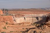 foto of dam  - Glen Canyon Dam is backing the Colorado river near by Page in Arizona USA - JPG