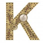 foto of letter k  - Steampunk mechanical metal alphabet letter K - JPG