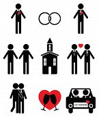 stock photo of gay wedding  - Gay man 2 wedding icon set in black and white - JPG