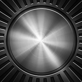 stock photo of vibration plate  - round metal with ray pattern - JPG
