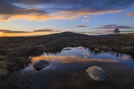 picture of marshlands  - Marshland on the background of mountain scenery and the rain clouds - JPG