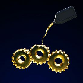 foto of lube  - 3d rendered illustration of filling of gears by motor oil - JPG