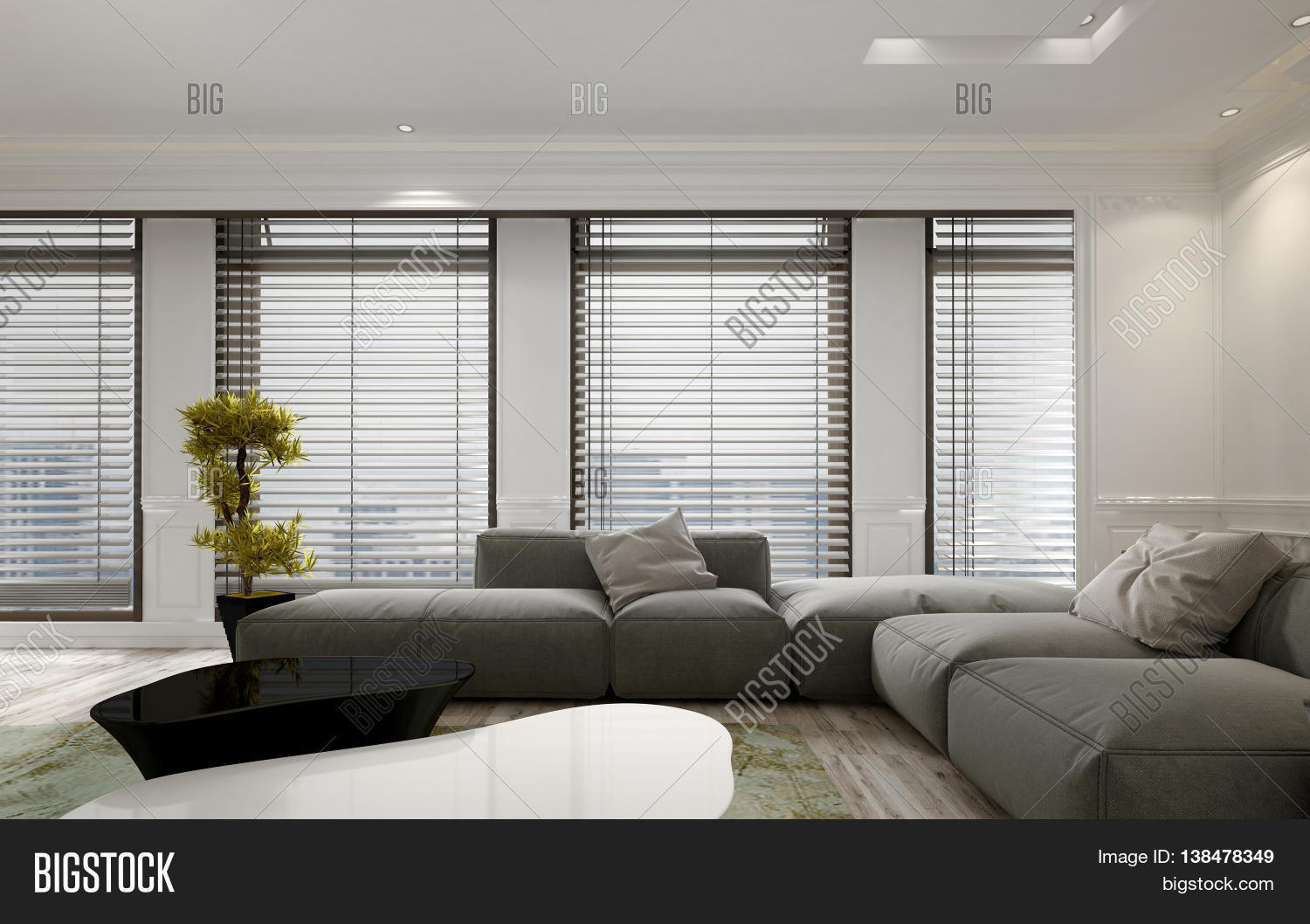 Luxury Apartment Living Room Interior With Large Floor To Ceiling Window Blinds And Soft Gray Modular