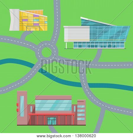 Shopping center map concept. Flat design. Modern commercial building vector illustrations for web design, navigation services, banners. Shop, mall, supermarket, business center on color background.