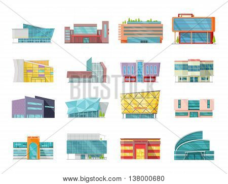 Set of commercial buildings, architecture variations in flat design. Modern structures vector for web design, app icons, navigation services. Shop, mall, supermarket, business center illustrations.