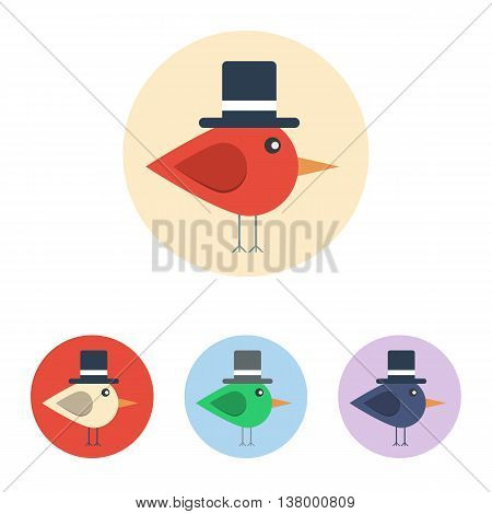 Vector set of icons with bird with cylinder hat. Icons are in modern flat style in various colors without long shadows. Icons on a circular background for various use.