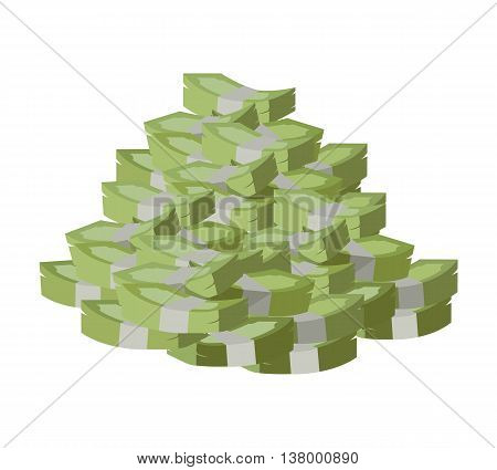 Stack of money vector. Pile of banknotes in flat style design. Getting maximum profit idea. Cash for all purposes. Illustration for credit, savings, charitable concepts. Isolated on white background.