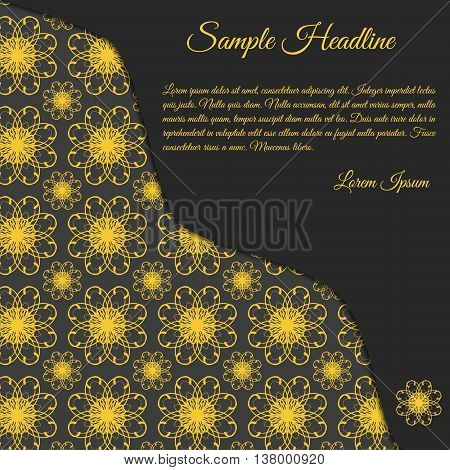 Vector invitation card with papercut effect. Concept in dark grey color with golden text. Template with floral ornamental background. Card template for various use (birthday wedding party etc.).