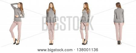 Portrait Of Woman On White Background Wearing Trousers