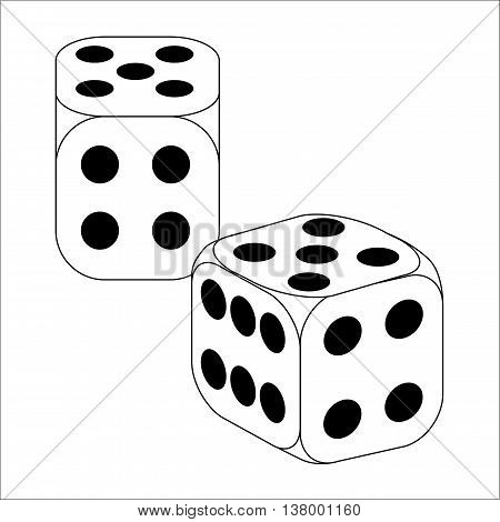 Black and White Dice With Five Roll