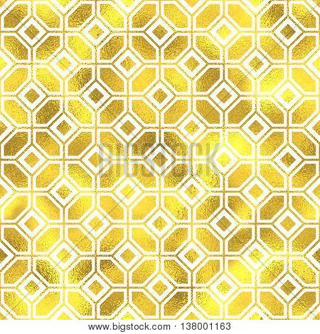 Vector Seamless Geometric Textured Golden Pattern