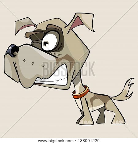 funny cartoon snarling little dog with a big head