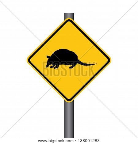Vector Armadillo Crossing Yellow Warning Signpost Illustration