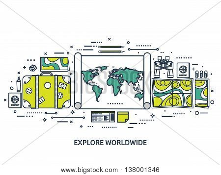 Travel and tourism. Flat style. World, earth map. Globe. Trip, tour, journey, summer holidays. Travelling, exploring worldwide. Adventure, expedition. Table, workplace. Traveler. Navigation or route planning.Line art.