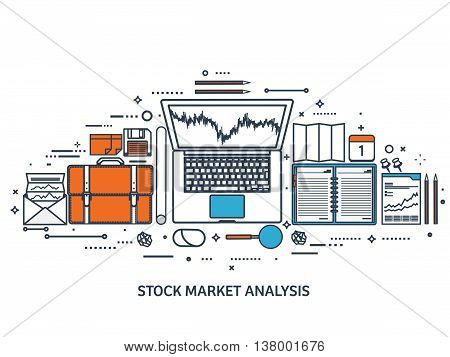 Vector illustration. Flat background. Market trade. Trading platform , account. Moneymaking, business. Analysis. Investing.Line art.