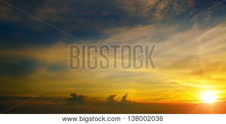 beautiful sun rise and blue cloudy sky