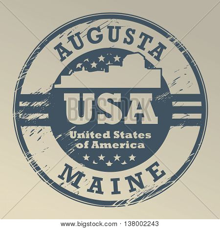 Grunge rubber stamp with name of Maine, Augusta, vector illustration
