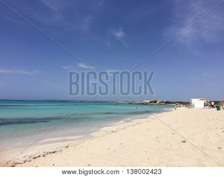 MAJORCA - JULY 8: The beach facing West at Platja des Trenc on July 8, 2016 in Majorca, Spain.