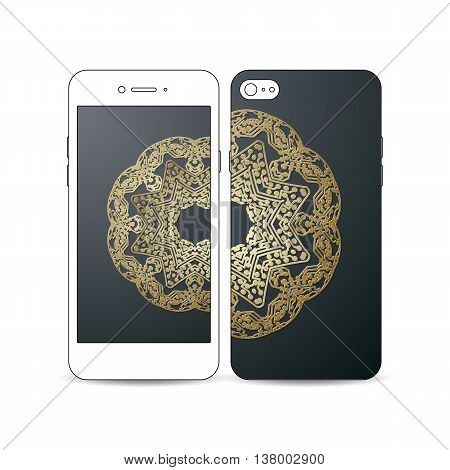 Mobile smartphone with an example of the screen and cover design on white background. Golden microchip pattern on dark background, mandala template with connecting dots and lines, connection structure