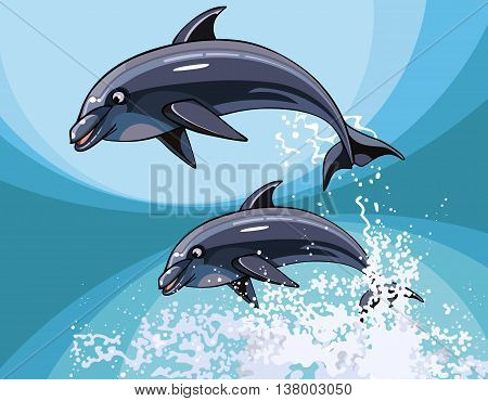Two cartoon dolphins happily jumping in splashes water