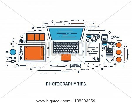 Photographer equipment on a table. Photography tools, photo editing, photoshooting flat background. Digital photocamera with lens. Vector illustration.Line art.
