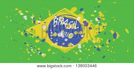 Brasil Rio logo with national flag colors hand drawn style. Digital vector image.