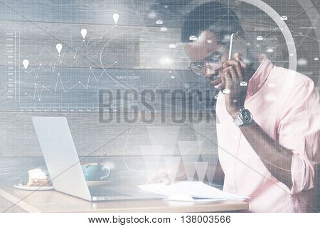 Double Exposure Of Successful African American Businessman Calling His Potential Partner On The Phon