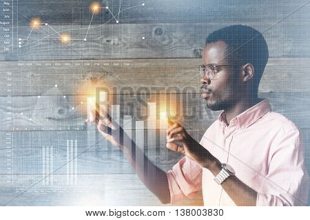 Future Technology, Touchscreen Display Interface. Handsome African American Man Working On Modern Co